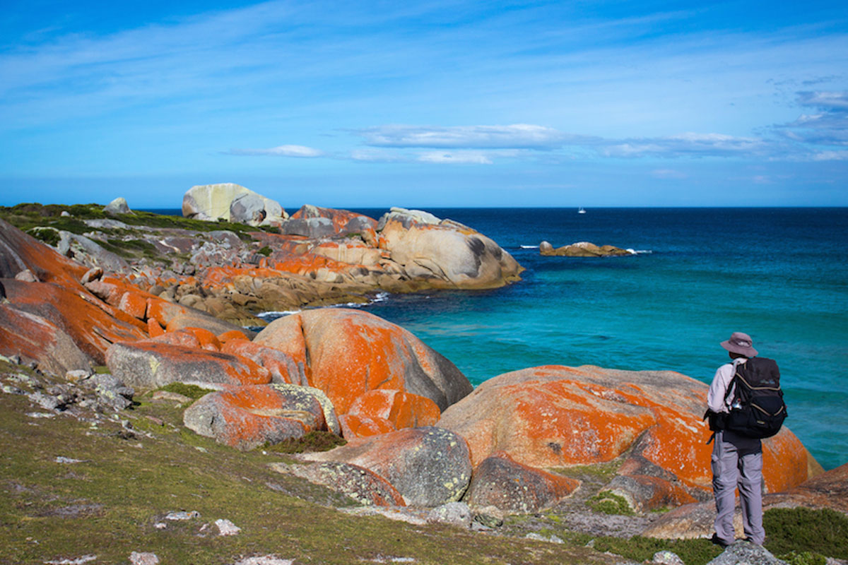 Discover the unique colours of the Australian coastline on the Bay of Fires Lodge Walk.