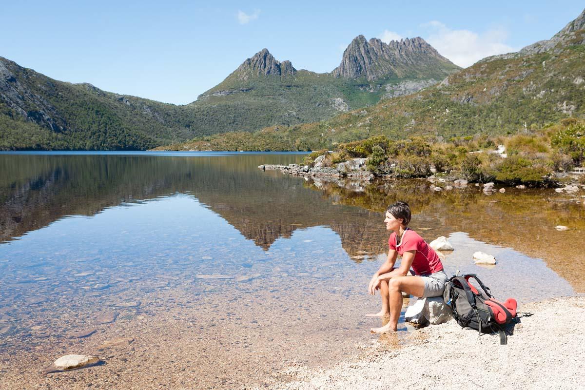 Take in stunning views of Cradle Mountain in Tasmania on the Cradle Mountain Huts Walk.