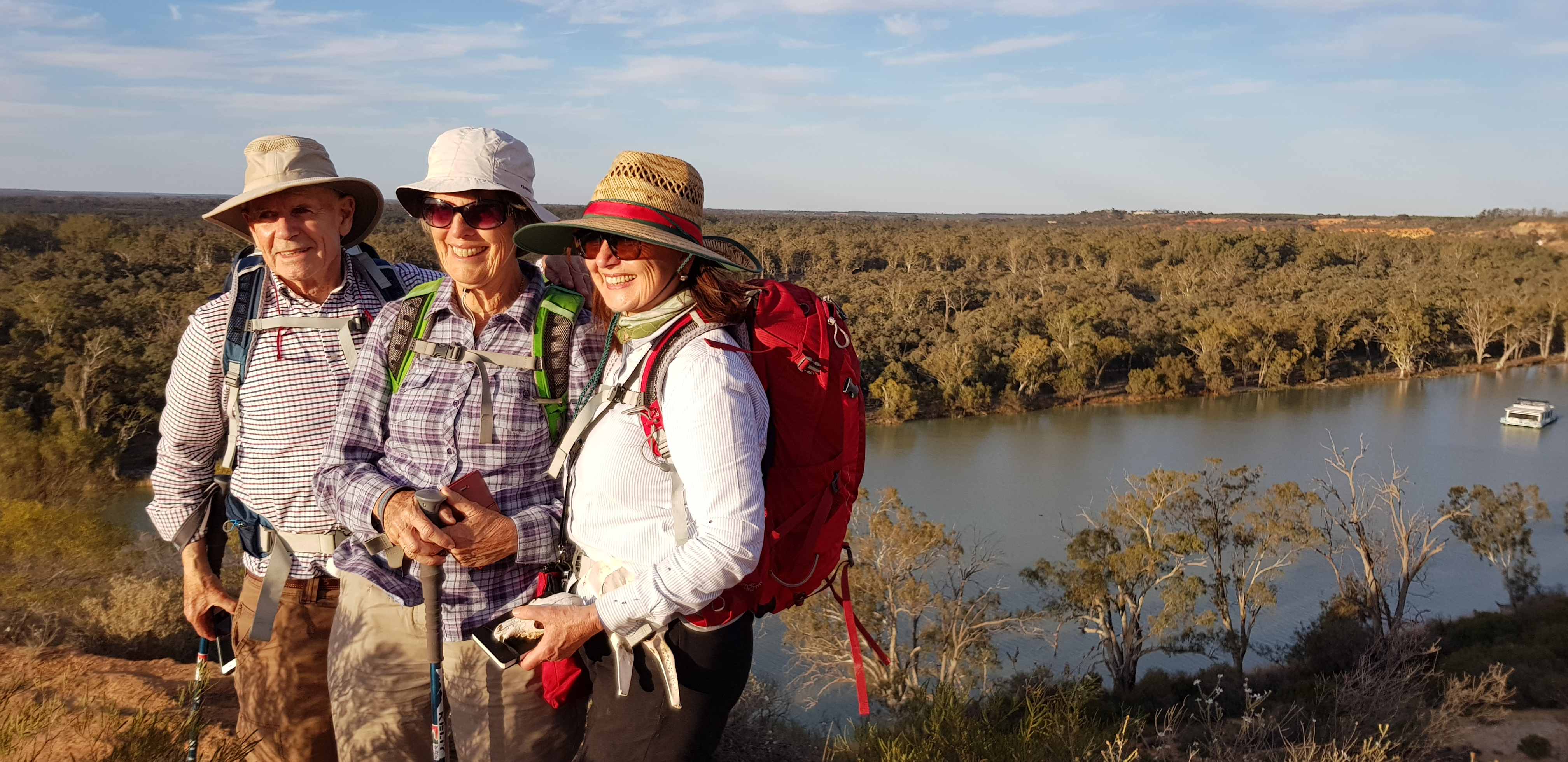 Posing for a quick photo on the Murray River